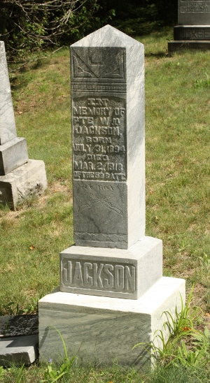 Jackson family gravestone in the Coe Hill (Salem) Pioneer Cemetery.