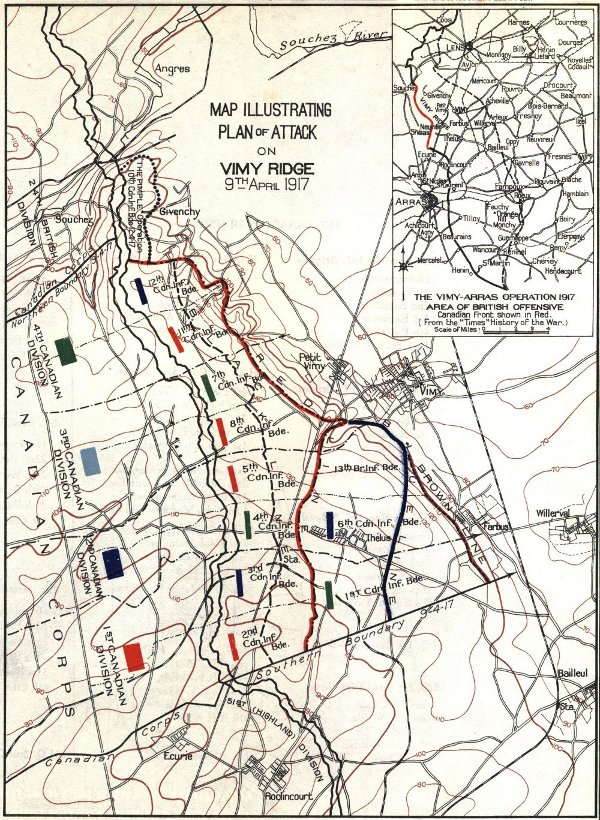 Map Illustrating the Plan of Attack on Vimy Ridge, 9th April, 1917