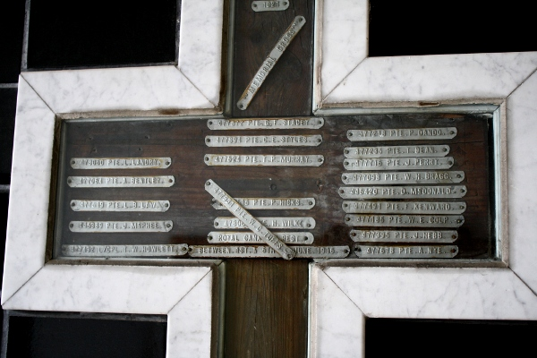 Pte Leo Landry's name can be found on the battlefield memorial cross which is part of the collection in The Royal Canadian Regiment Museum.