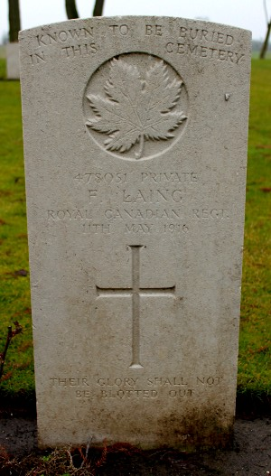 "Commonwealth War Graves Commission Gravestone of Pte Fred Laing, located in the Maple Copse Cemetery, Belgium. Photo by ""Fred"", a member of the Canadian Expeditionary Force Study Group, an online forum."