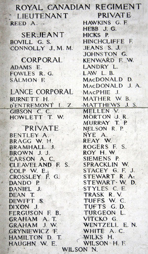 Pte Leo Landry is included among the names of Royal Canadians who fell in the Ypres Salient and have no known grave and inscribed on the Menin Gate (Ypres) Memorial. Photo by Judy Rieck, a member of the Great War Forum.