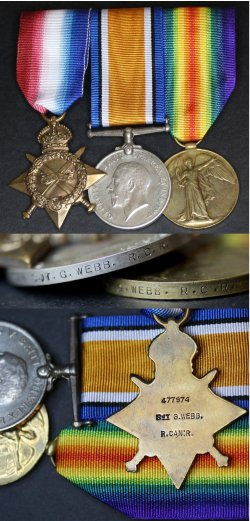 First World War medals awarded to 477974 Sergeant George Webb.